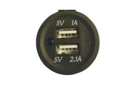 USB uttag rund dubbla anslutningar 1+2.1A